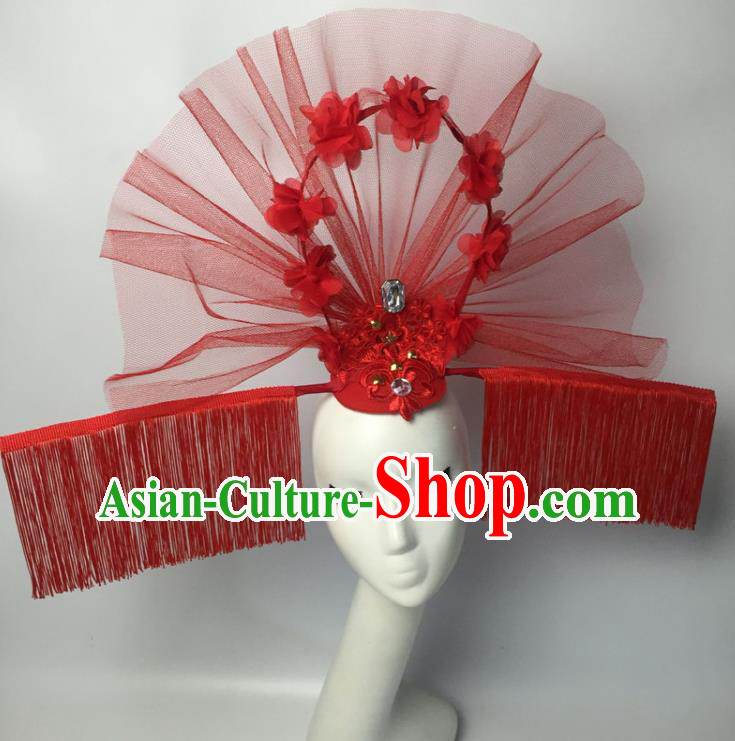 Chinese Traditional Catwalks Exaggerated Headdress Palace Red Veil Hair Accessories for Women