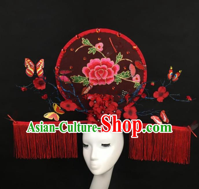 Chinese Traditional Exaggerated Palace Headdress Catwalks Embroidered Peony Red Hair Accessories for Women