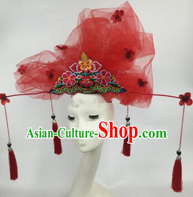 Chinese Traditional Catwalks Exaggerated Red Veil Headdress Palace Hair Accessories for Women