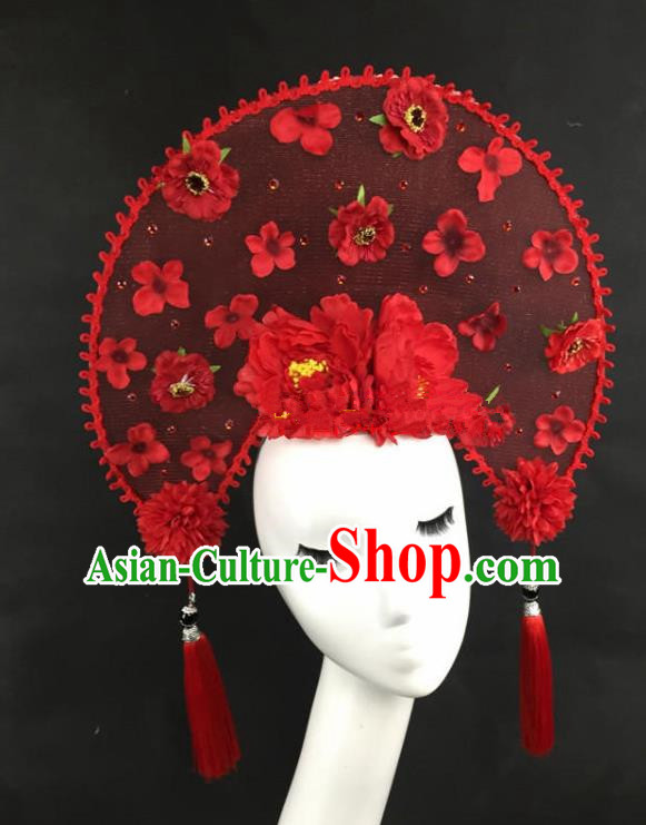 Chinese Traditional Catwalks Exaggerated Red Peony Headdress Palace Hair Accessories for Women
