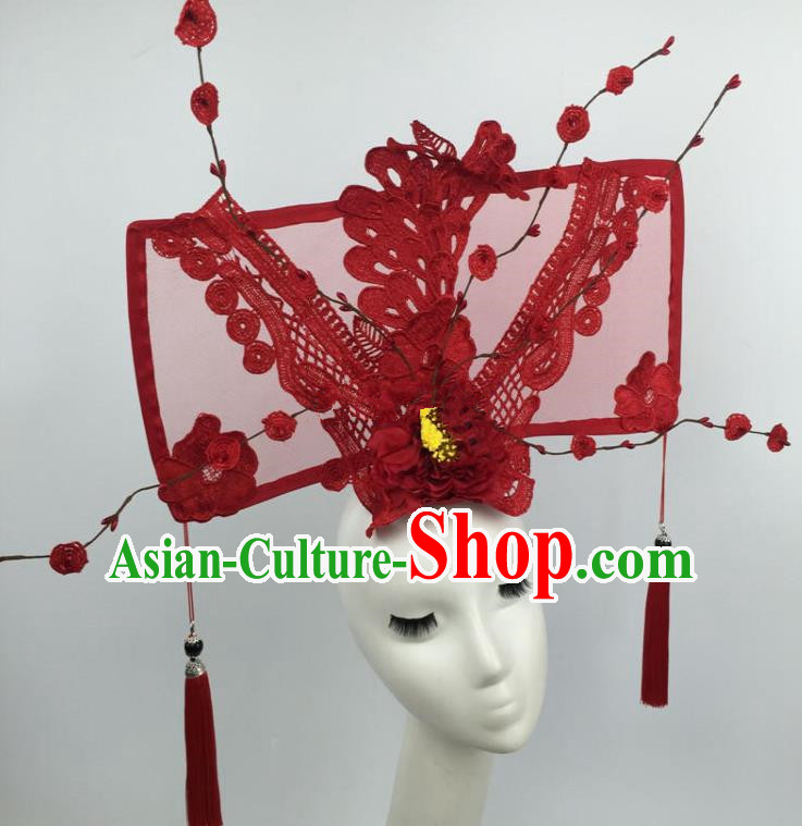 Chinese Traditional Catwalks Exaggerated Red Lace Headdress Palace Hair Accessories for Women