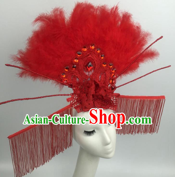 Chinese Traditional Catwalks Exaggerated Red Feather Headdress Palace Hair Accessories for Women