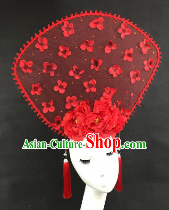 Chinese Traditional Catwalks Red Peony Headdress Palace Exaggerated Hair Accessories for Women