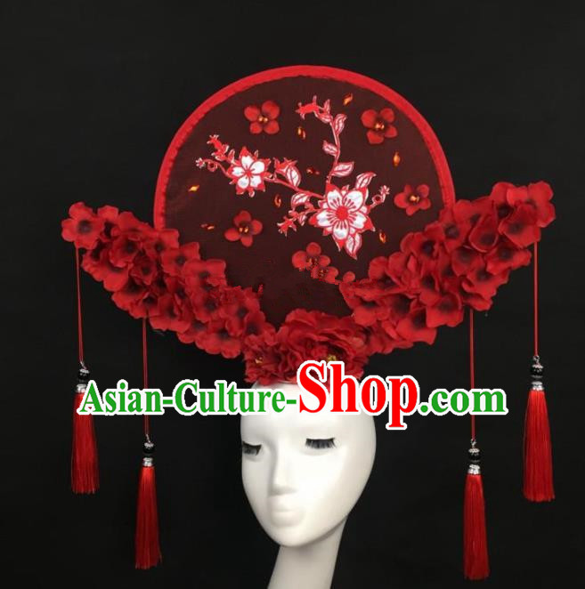 Chinese Traditional Exaggerated Palace Headdress Catwalks Embroidered Red Flowers Hair Accessories for Women