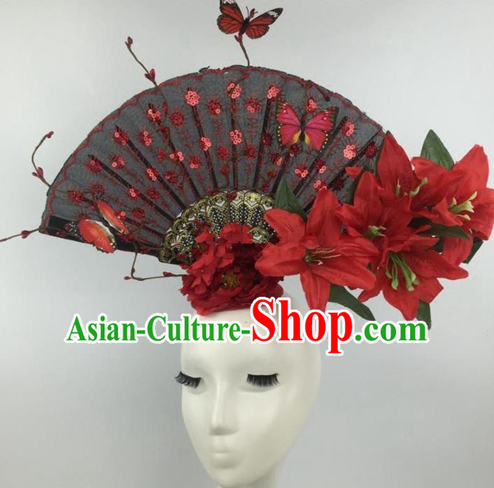 Chinese Traditional Catwalks Red Lily Flowers Headdress Palace Exaggerated Hair Accessories for Women