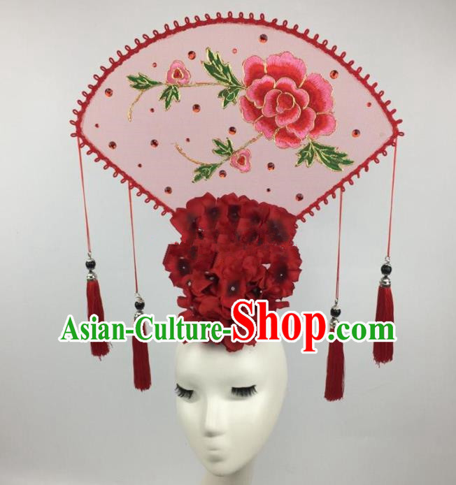 Chinese Traditional Exaggerated Palace Headdress Catwalks Embroidered Pink Peony Hair Accessories for Women