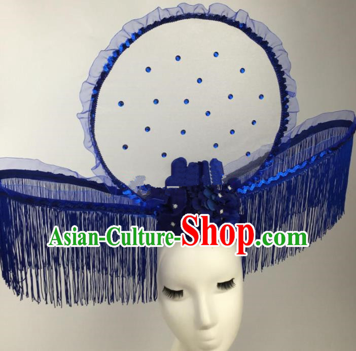 Chinese Traditional Catwalks Blue Flowers Tassel Headdress Palace Exaggerated Hair Accessories for Women