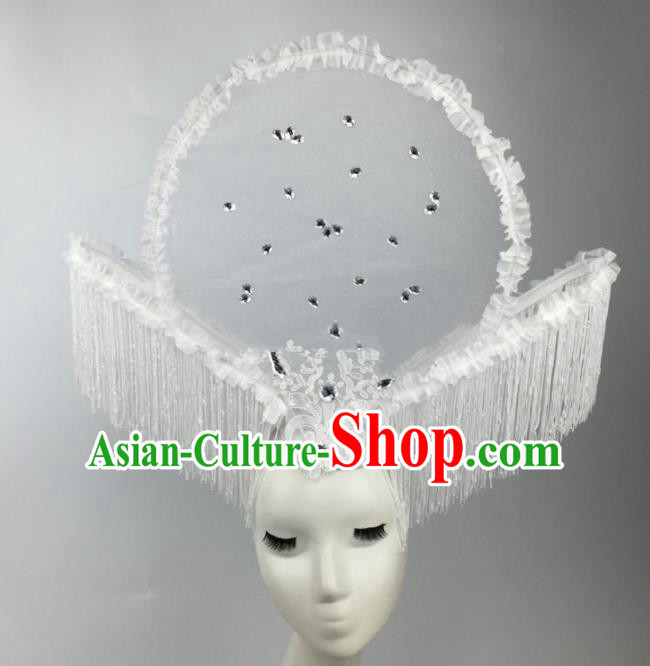 Chinese Traditional Catwalks White Flowers Tassel Headdress Palace Exaggerated Hair Accessories for Women