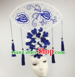 Chinese Traditional Catwalks Blue Peony Headdress Palace Exaggerated Hair Accessories for Women