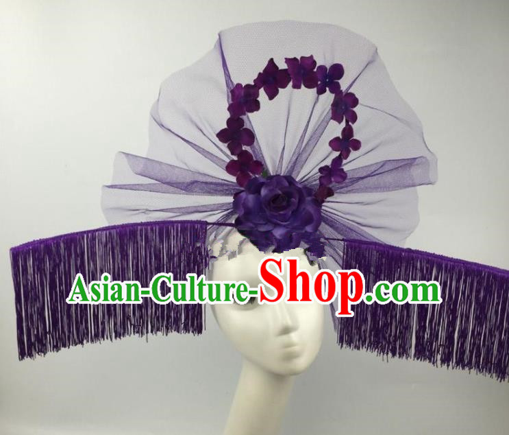 Chinese Traditional Exaggerated Palace Headdress Catwalks Purple Veil Tassel Hair Accessories for Women