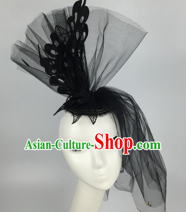 Top Grade Halloween Catwalks Headdress Brazilian Carnival Black Veil Hair Accessories for Women