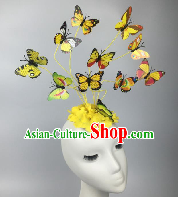 Top Grade Halloween Catwalks Headdress Brazilian Carnival Yellow Butterfly Hair Accessories for Women