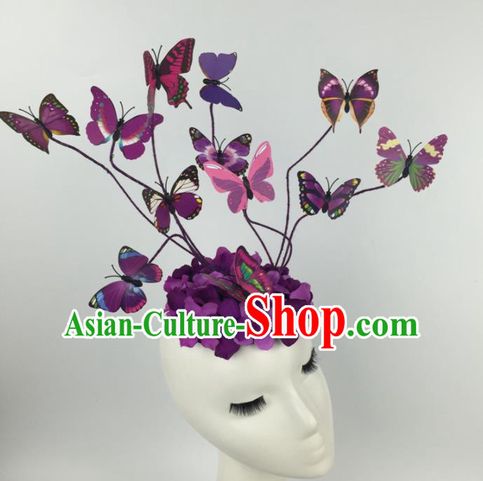 Top Grade Halloween Catwalks Headdress Brazilian Carnival Purple Butterfly Hair Accessories for Women