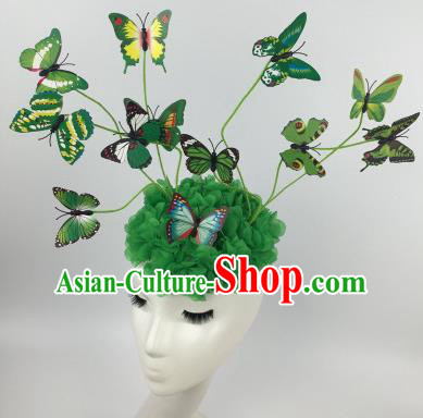 Top Grade Halloween Catwalks Headdress Brazilian Carnival Green Butterfly Hair Accessories for Women