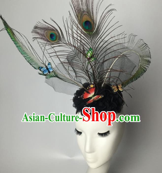 Top Grade Halloween Catwalks Headdress Brazilian Carnival Peacock Feather Hair Accessories for Women