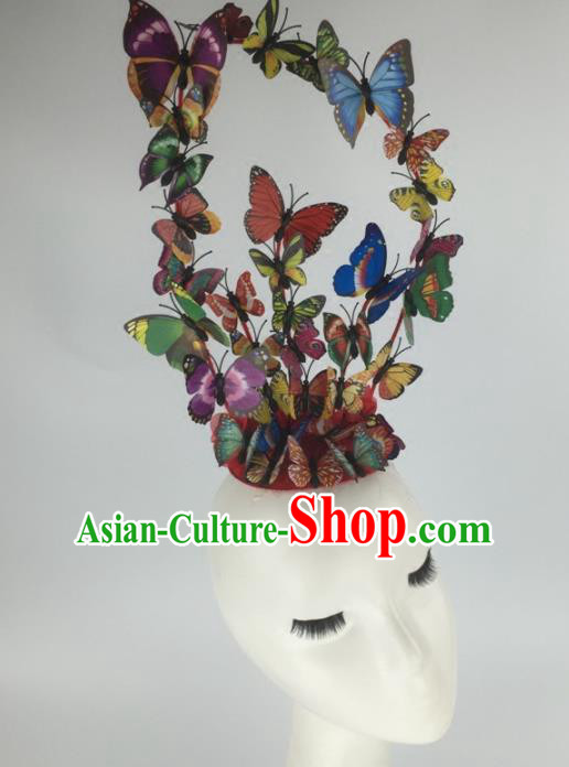 Top Grade Halloween Catwalks Headdress Brazilian Carnival Colorful Butterfly Hair Accessories for Women