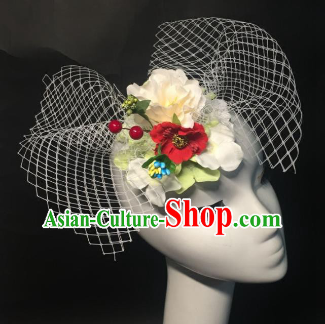 Top Grade Halloween Catwalks Headdress Brazilian Carnival White Flowers Headwear for Women