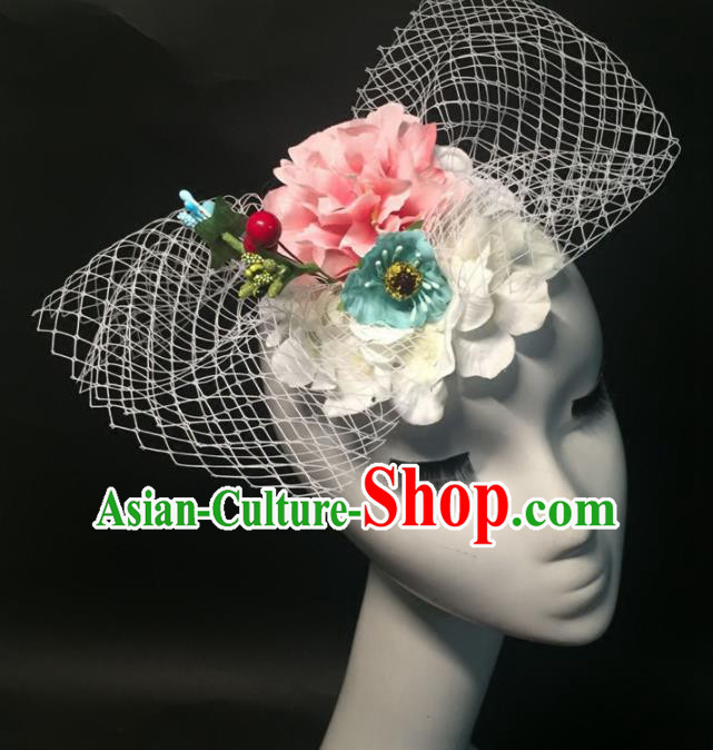 Top Grade Halloween Catwalks Headdress Brazilian Carnival Pink Peony Headwear for Women