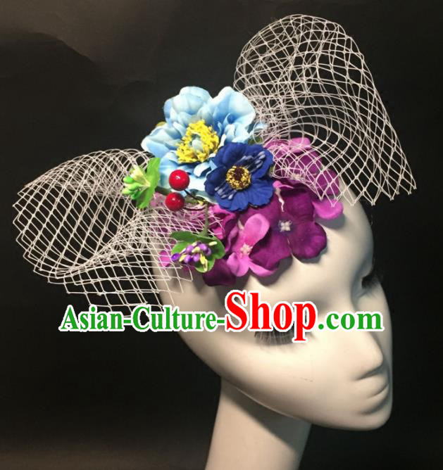 Top Grade Halloween Catwalks Headdress Brazilian Carnival Blue Peony Headwear for Women