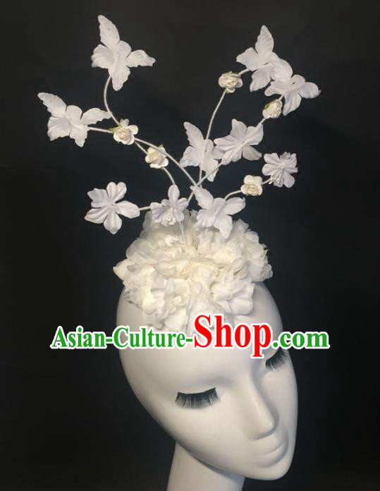 Top Grade Halloween Catwalks Headdress Brazilian Carnival White Silk Flowers Top Hat for Women