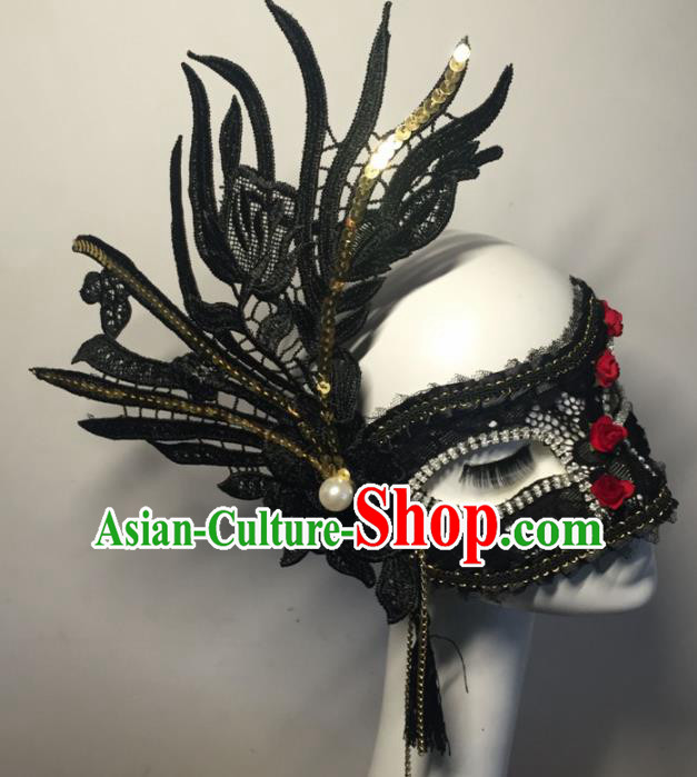 Halloween Exaggerated Accessories Catwalks Black Lace Masks for Women