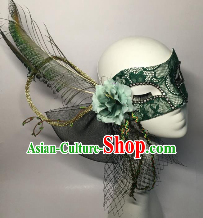 Halloween Exaggerated Accessories Catwalks Green Lace Feather Masks for Women