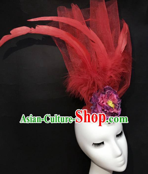 Top Grade Halloween Catwalks Headdress Brazilian Carnival Red Feather Top Hat for Women
