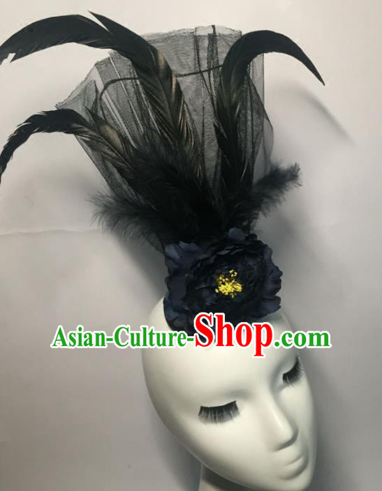 Top Grade Halloween Catwalks Headdress Brazilian Carnival Black Feather Top Hat for Women