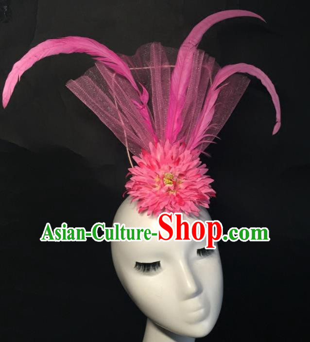Top Grade Halloween Catwalks Headdress Brazilian Carnival Pink Feather Top Hat for Women