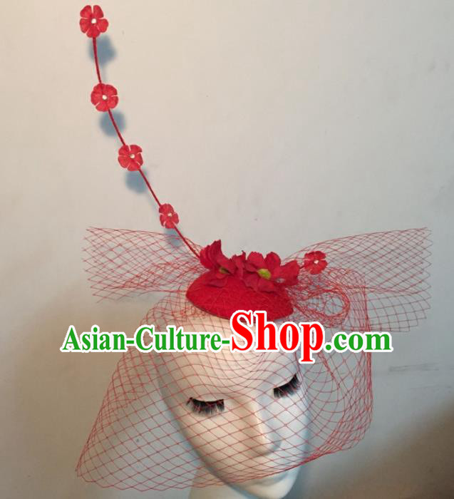 Top Grade Halloween Catwalks Headdress Brazilian Carnival Red Top Hat for Women