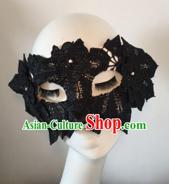 Halloween Exaggerated Accessories Catwalks Black Lace Leaf Masks for Women