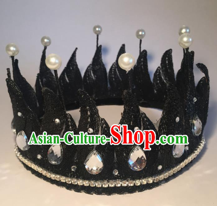 Top Grade Halloween Catwalks Headdress Brazilian Carnival Black Royal Crown for Women