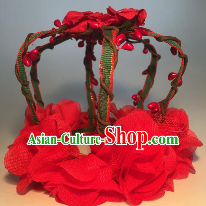 Top Grade Halloween Catwalks Headdress Brazilian Carnival Red Flowers Royal Crown for Women