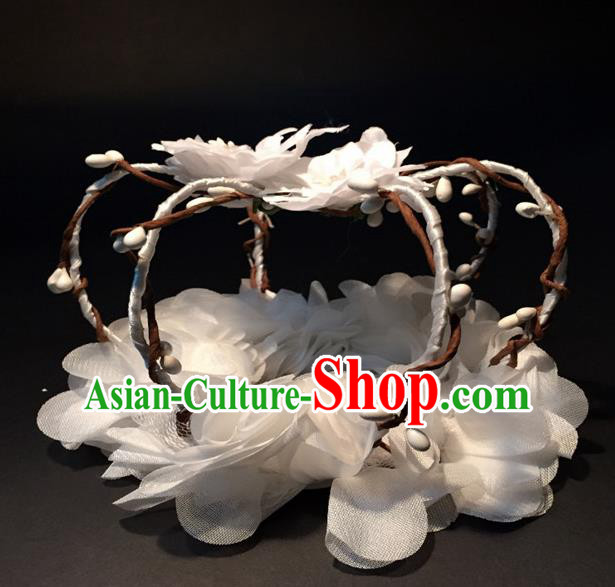 Top Grade Halloween Catwalks Headdress Brazilian Carnival White Flowers Royal Crown for Women