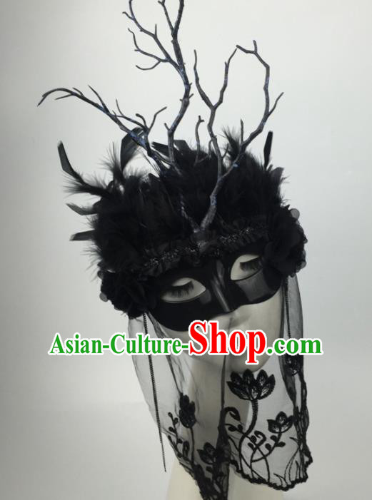 Halloween Exaggerated Accessories Catwalks Black Feather Masks for Women
