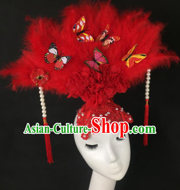 Top Grade Halloween Catwalks Hair Accessories Brazilian Carnival Red Feather Lace Headdress for Women