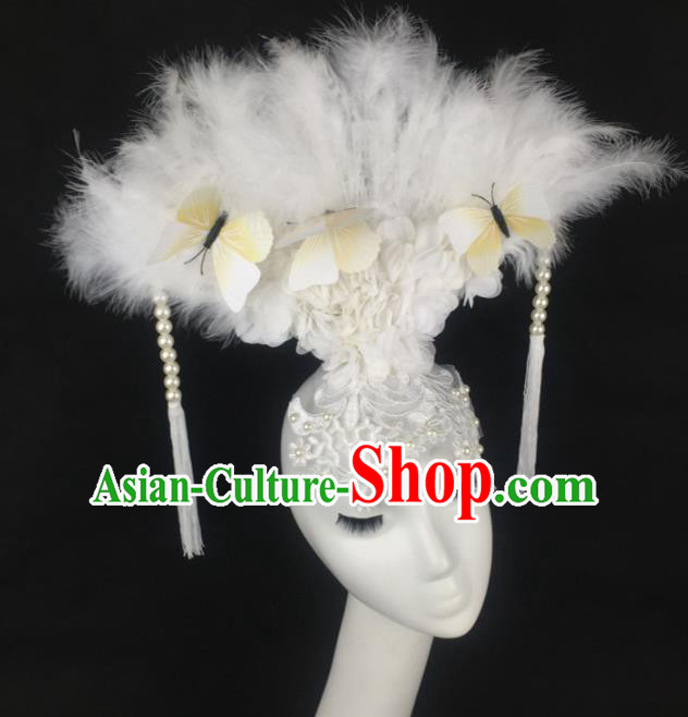 Top Grade Halloween Catwalks Hair Accessories Brazilian Carnival White Feather Lace Headdress for Women