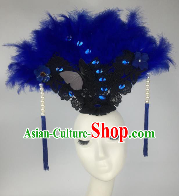 Top Grade Halloween Catwalks Hair Accessories Brazilian Carnival Blue Feather Lace Headdress for Women