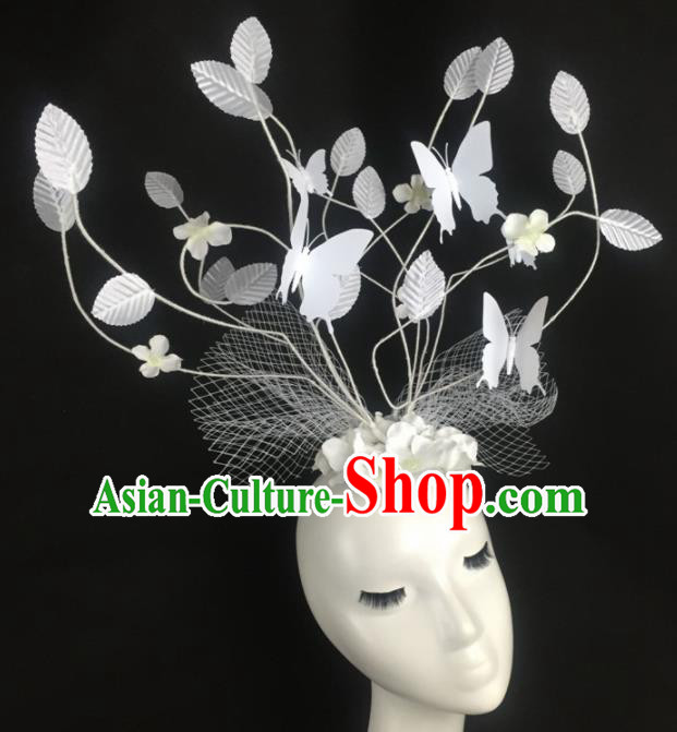 Top Grade Halloween Catwalks Headdress Brazilian Carnival White Leaf Butterfly Hair Accessories for Women