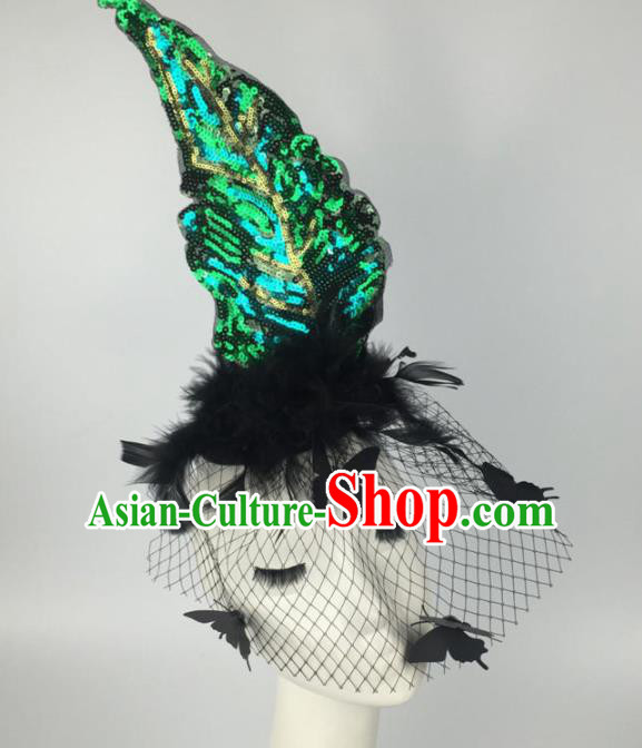 Top Grade Halloween Catwalks Headdress Brazilian Carnival Green Sequins Hair Accessories for Women