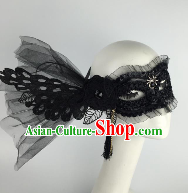 Halloween Exaggerated Accessories Catwalks Black Lace Flower Masks for Women
