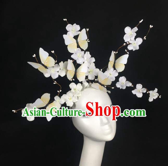 Top Grade Halloween Catwalks Headdress Brazilian Carnival White Butterfly Flowers Hair Accessories for Women