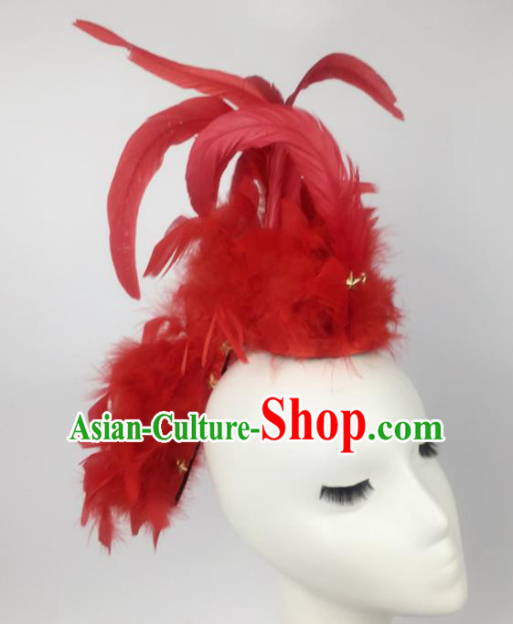 Top Grade Halloween Catwalks Hair Accessories Brazilian Carnival Red Feather Headdress for Women