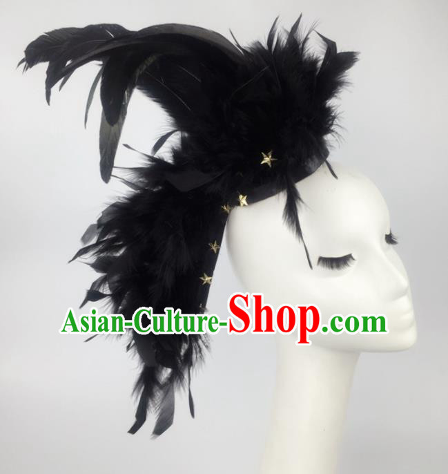 Top Grade Halloween Catwalks Hair Accessories Brazilian Carnival Black Feather Headdress for Women