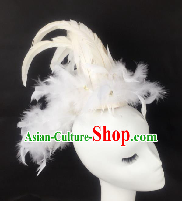 Top Grade Halloween Catwalks Hair Accessories Brazilian Carnival White Feather Headdress for Women