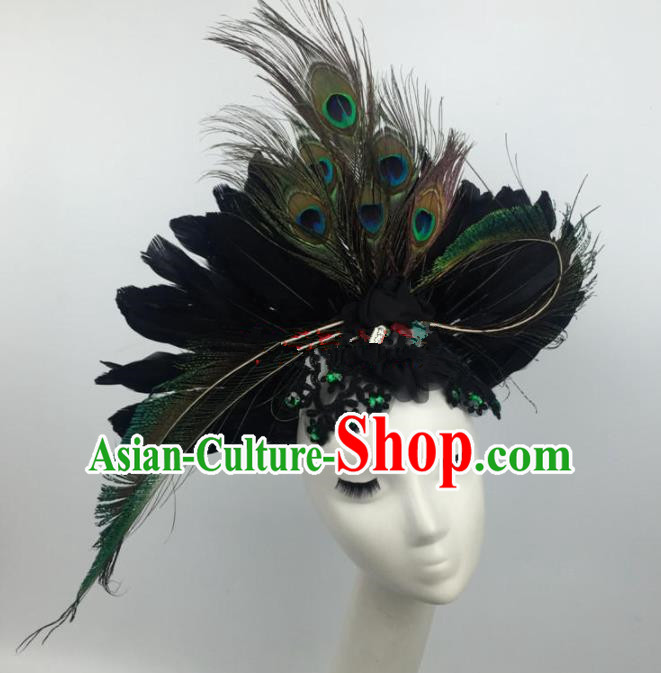 Top Grade Halloween Catwalks Hair Accessories Brazilian Carnival Peacock Feather Headdress for Women
