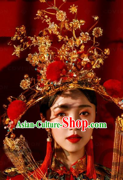 Chinese Traditional Ancient Bride Phoenix Coronet Palace Wedding Hair Accessories for Women