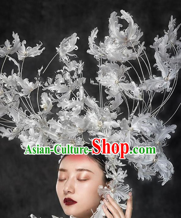 Top Grade Halloween Catwalks Hair Accessories Baroque Feather Exaggerated Headdress for Women
