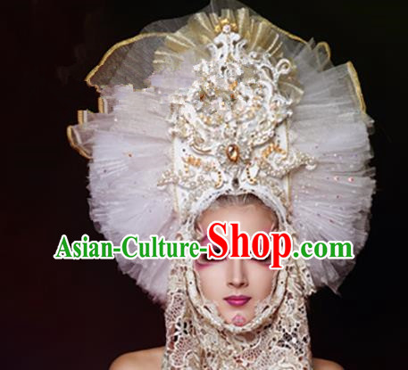 Top Grade Halloween Catwalks Hair Accessories Baroque Bride White Veil Headwear for Women