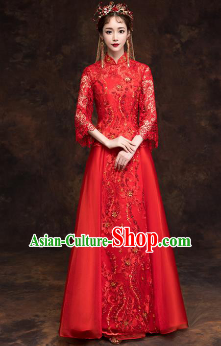 Chinese Traditional Wedding Red Costumes Ancient Bride Embroidered Lace Xiuhe Suits for Women